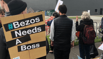 'Bezos needs a boss': Protesters ask for CEO oversight outside Amazon's shareholders meeting