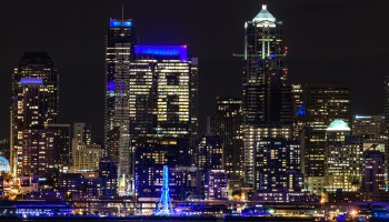 Seattle skyline turns blue in coordinated tribute to late Microsoft co-founder Paul Allen