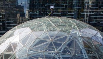 From Prime location atop The Spheres in Seattle, Jeff Bezos thanks Amazon shoppers and workers