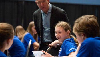 'They're so inspiring': Jeff Bezos touts Blue Origin's space postcard campaign for kids