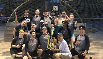 Dramatic plays caught on video lead TINYpulse to 2019 softball championship in IT Sports League