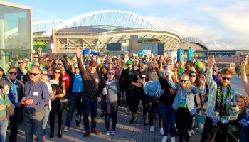 Photos: GeekWire community celebrates summer and soccer with big rooftop Sounders Day party
