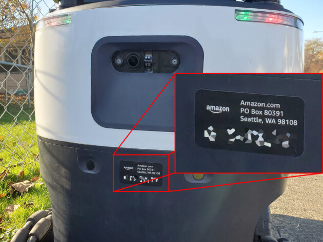 Close-up of the label on the Amazon sidewalk mapping robot in Everett, WA