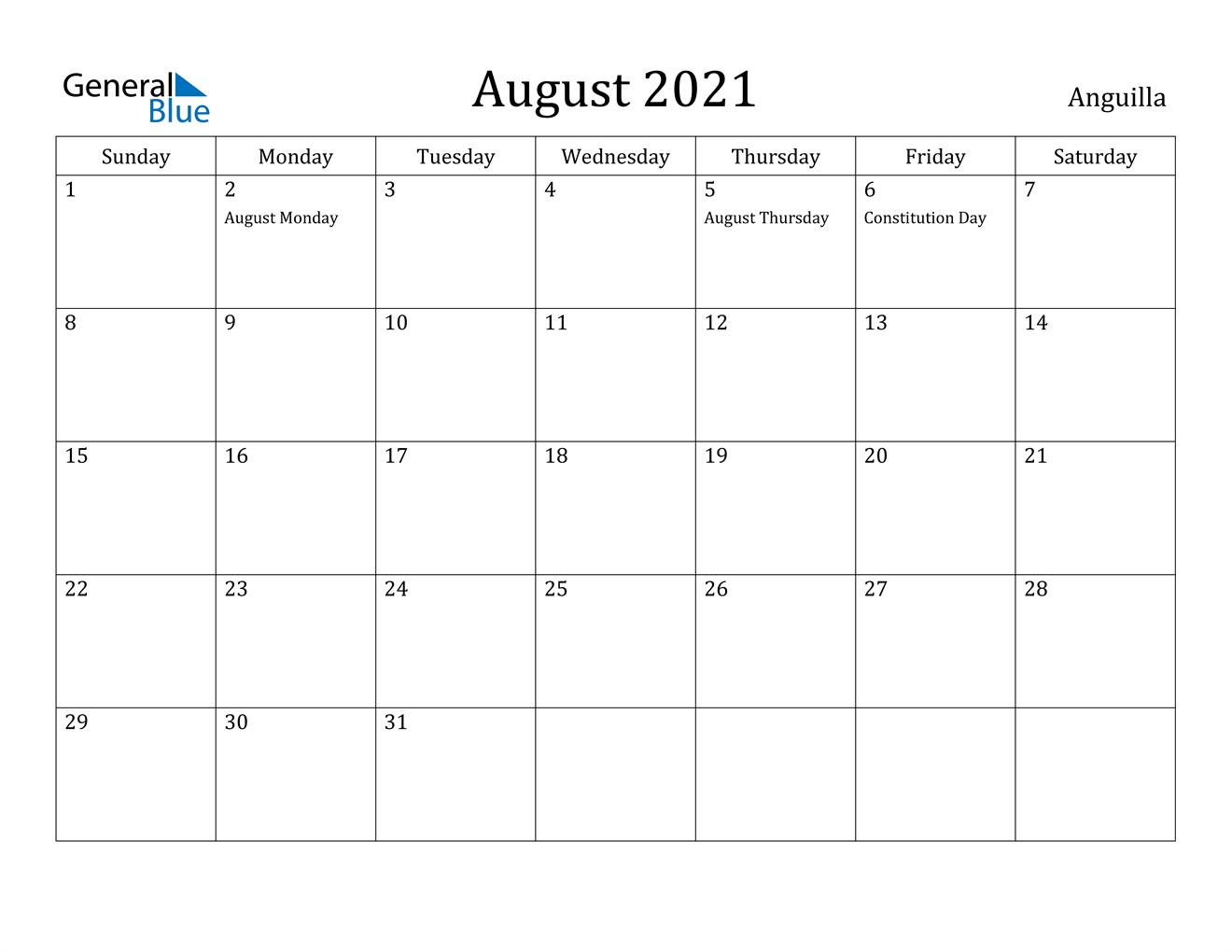 August 2021 whacky holiday calendar. August 2021 Calendar - Anguilla