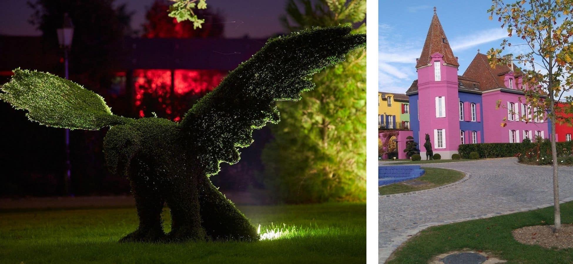 A gauche : une topiaire en forme d'aigle au Stelsia   a droite : le chateau Stelsia