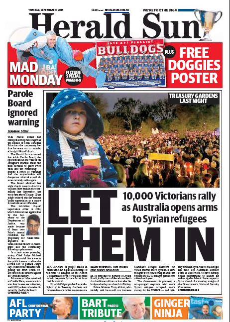 Front Page of Herald Sun 8 Sep 2015