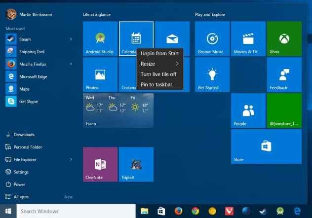 windows 10 start menu remove