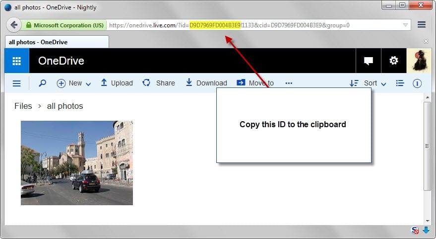 Cara mendapatkan akses ke file onedrive untuk Online Drive