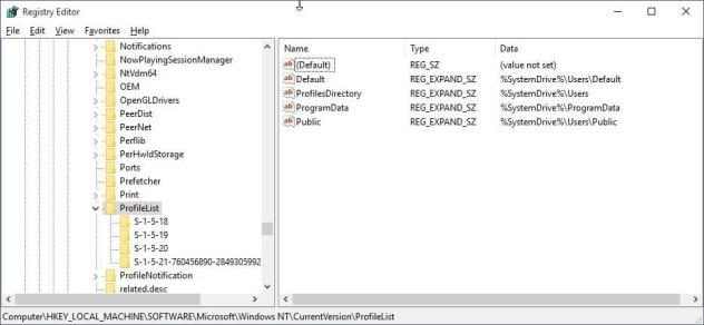 registry user profiles