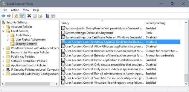 user account control security policy