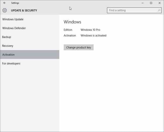 windows 10 settings activation