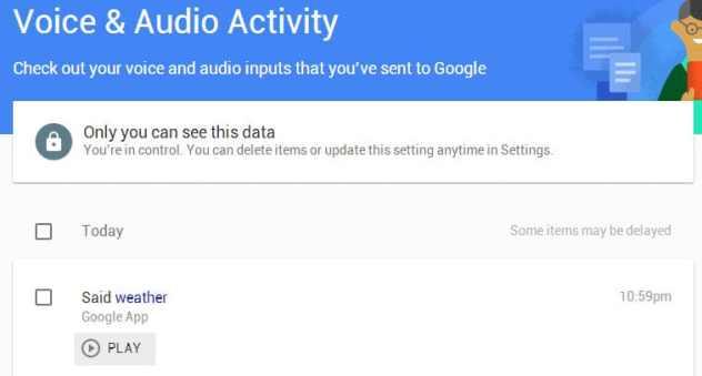 google voice audio activity
