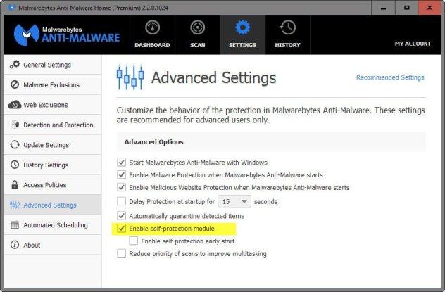 malwarebytes self-protection