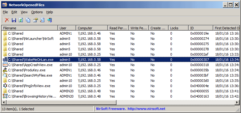 Cara Menampilkan open network files dengan NetworkOpenedFiles