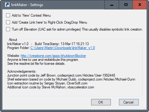 linkmaker settings