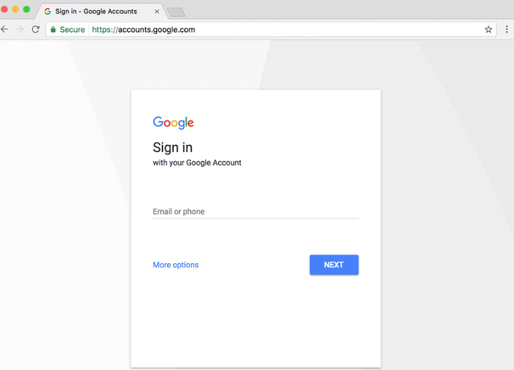 google new sign-in page