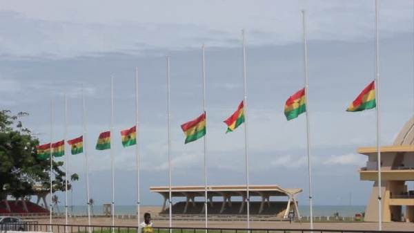 Flags fly at half-mast in honour of the late President Rawlings