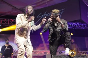 Dancehall musicians Stonebwoy and Shatta Wale on stage