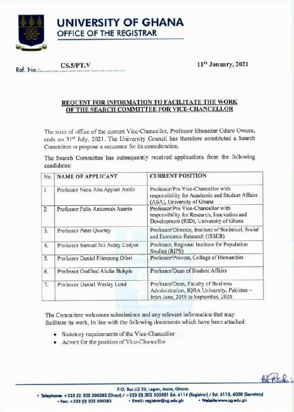 Full list of candidates vying for the UG Vice-Chancellor office 2