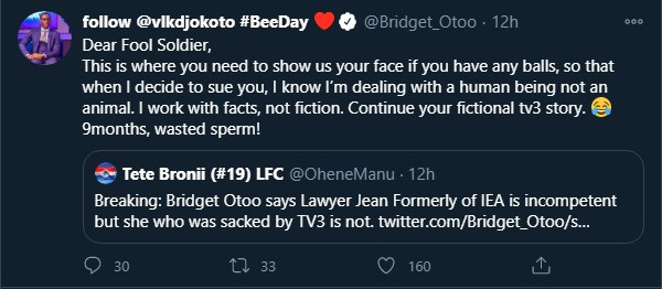 'You are a 9-months wasted sperm' - Bridget Otoo goes hard on social media user 2