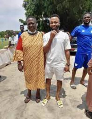 Midfielder Gladson Awako(right) at the training grounds of Hearts of Oak