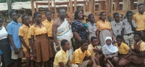 The MP with some of the pupils in a group photo