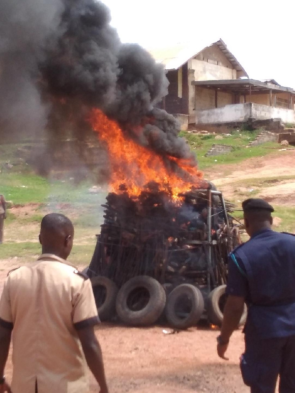 About 1,200 seized illicit  firearms  destroyed in Sekondi