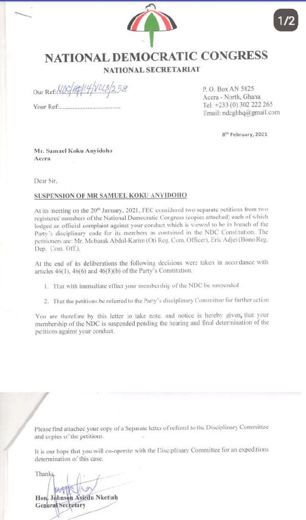 NDC suspends Koku Anyidoho 2