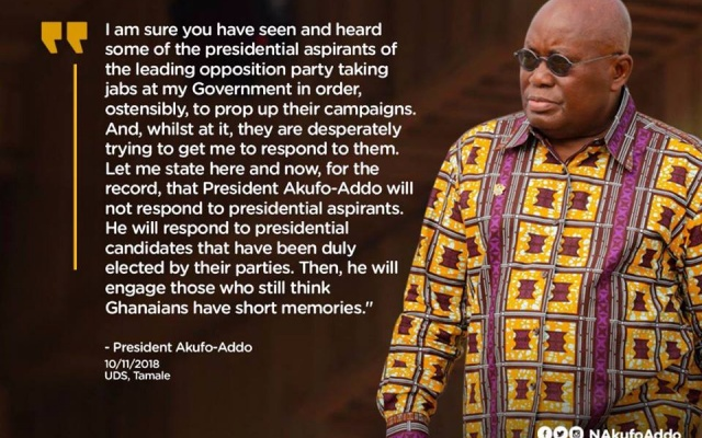 I respond to candidates not aspirants – Nana Addo to Mahama, others 1