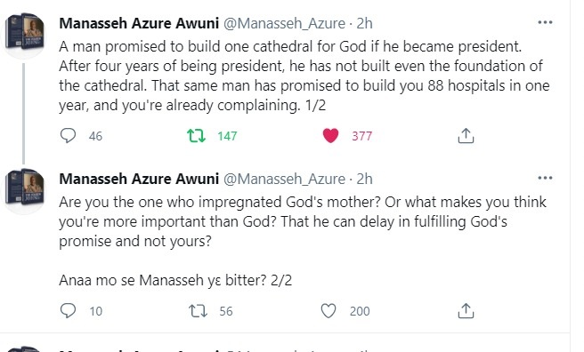 What makes you think Akufo-Addo can delay in fulfilling promise to God but can't delay yours?- Manasseh to Ghanaians 2