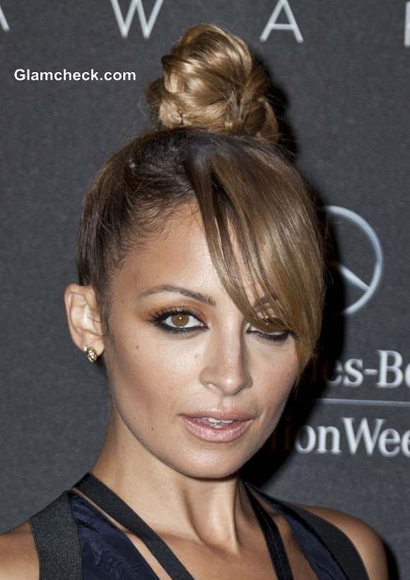 Nicole Richie Sports Top Knot With Side Swept Bangs