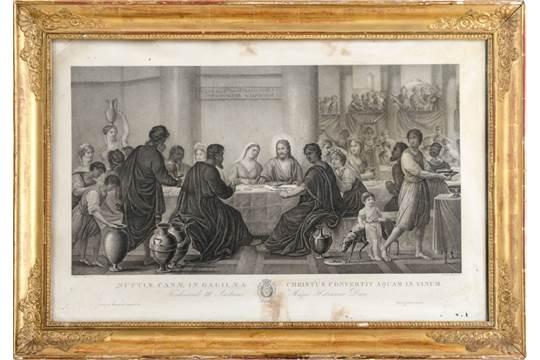 Stampa In Bianco E Nero Nozze Di Cana Entro Cornice Impero