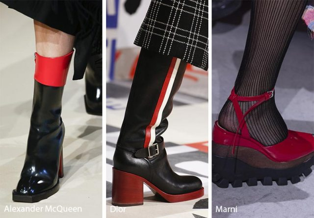 Fall/ Winter 2018-2019 Shoe Trends: Red and Black Shoes & Boots