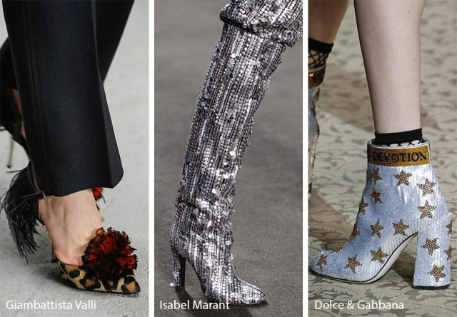 Fall/ Winter 2018-2019 Shoe Trends: Festive Shoes & Boots with Sequins, Feathers, Fringe and Tinsel