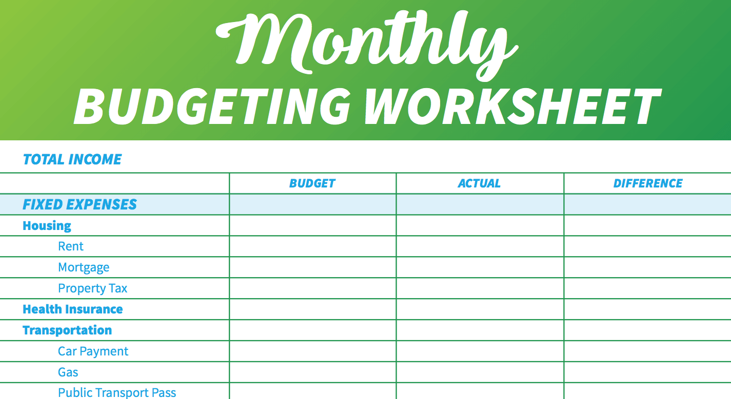 Example Of Budget Worksheet