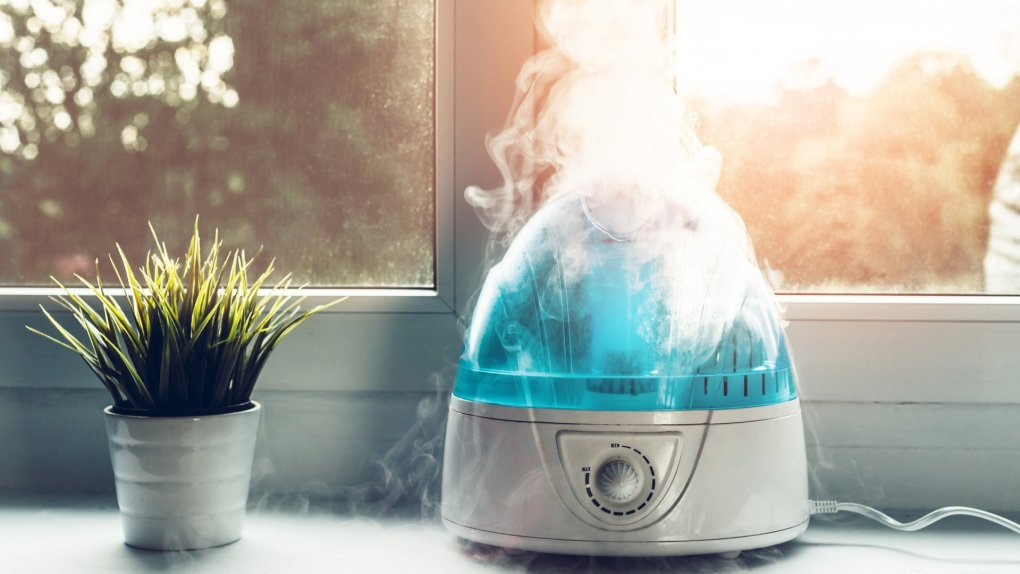 The white humidifier moistens dry air.