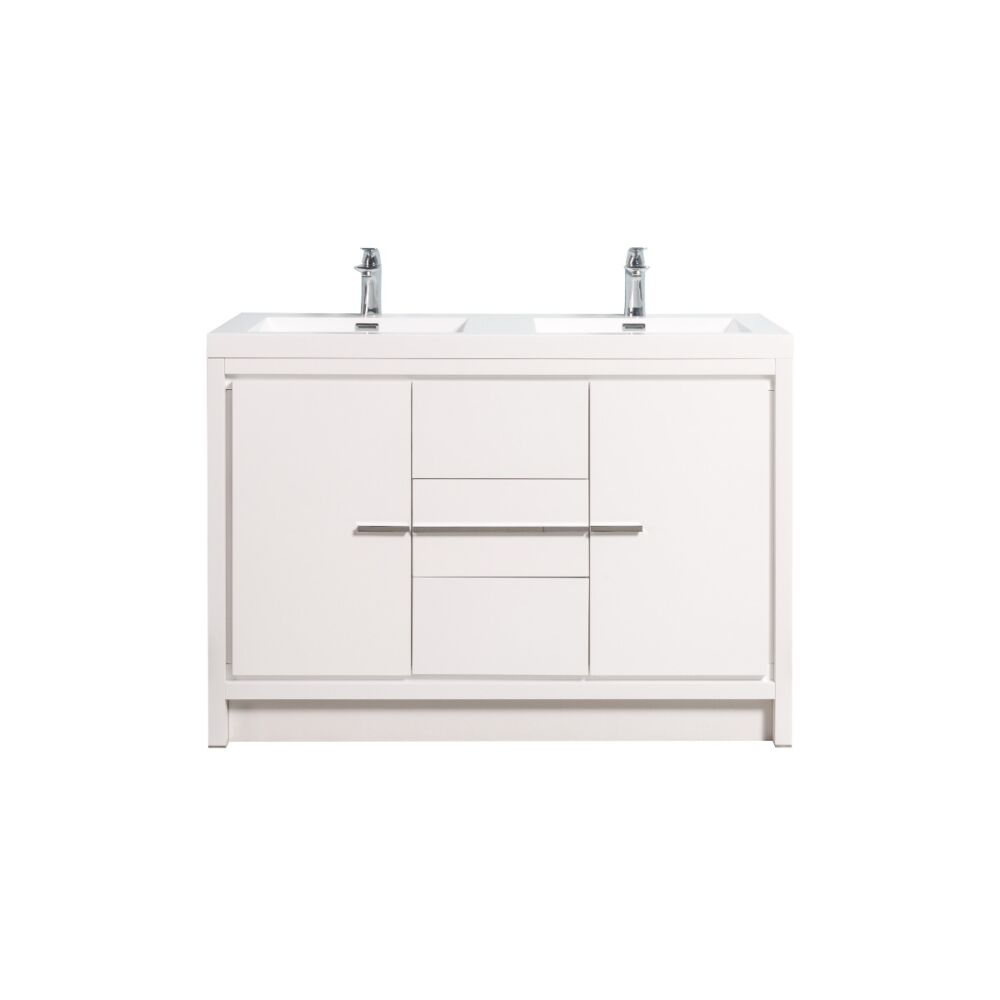 48 allier white combo white polymarble countertop double sink