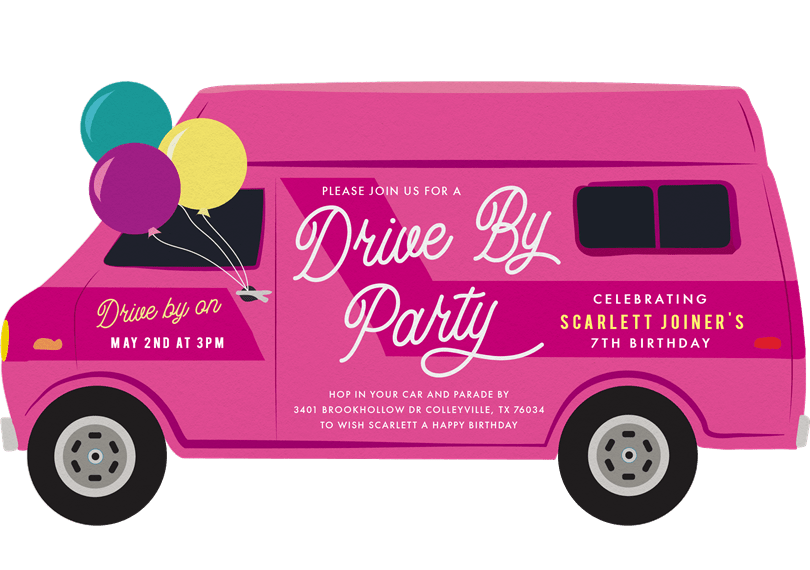 drive by parade invitations