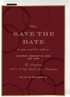 Wine Rings Save The Date In Red