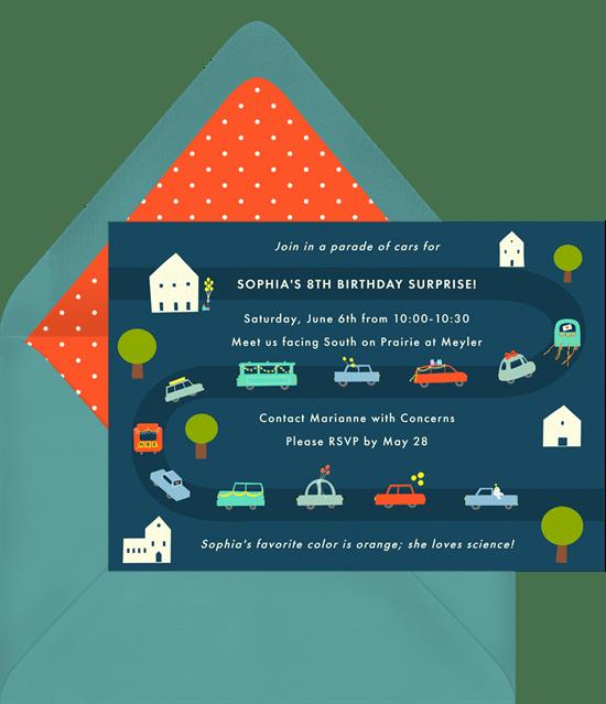 car parade invitations greenvelope com