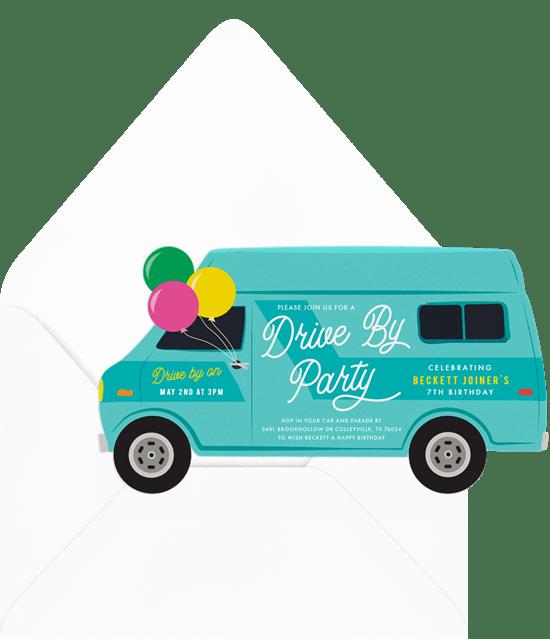 drive by parade invitations