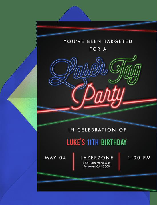 stolp laser tag birthday invitations