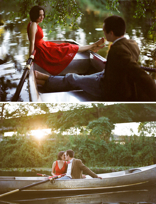 rowboat engagement photos
