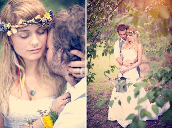 bride in flower halo