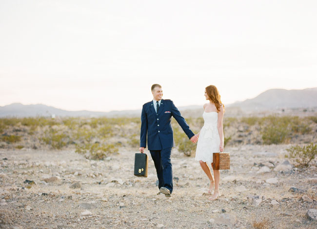 bride and groom suitcases