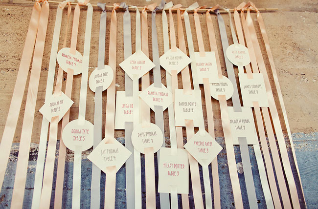 wedding place cards on ribbon
