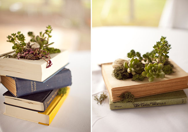 diy vintage book planters succulents moss fabric flowers tablecentres