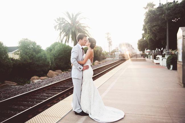 bride and goom at train station