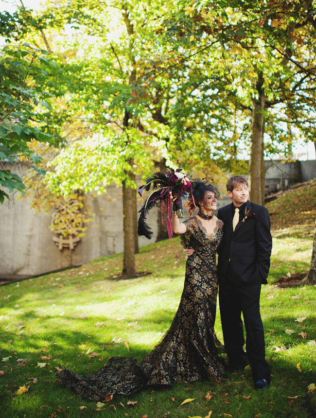 black and gold wedding dress