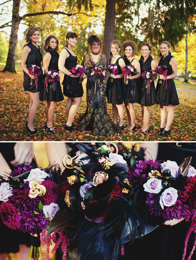bridesmaids in black dresses with purple flowers